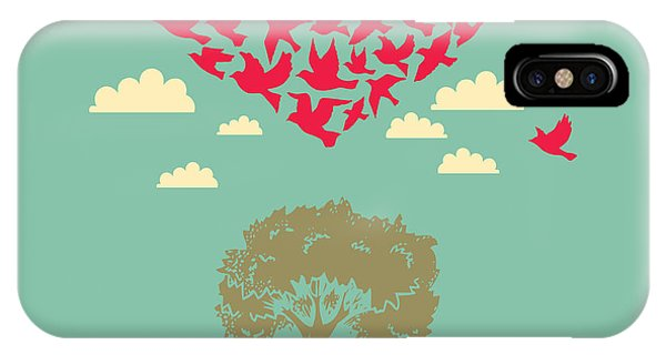 Peace iPhone Case - The Heart Of The Birds. Love Colorful by Mrs. Opossum