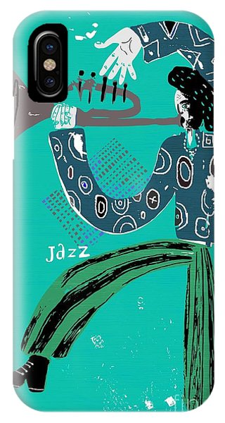 Hobby iPhone Case - The Image Of A Jazz Musician Who Plays by Dmitriip