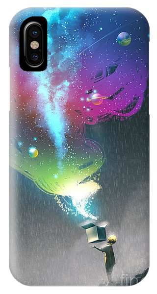 Space iPhone Case - The Kid Opening A Fantasy Box With by Tithi Luadthong