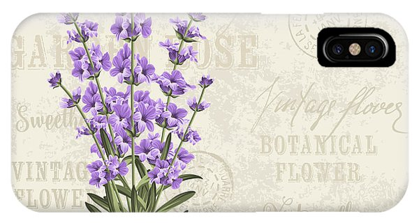 Violet iPhone Case - The Lavender Elegant Card. Vintage by Kotkoa