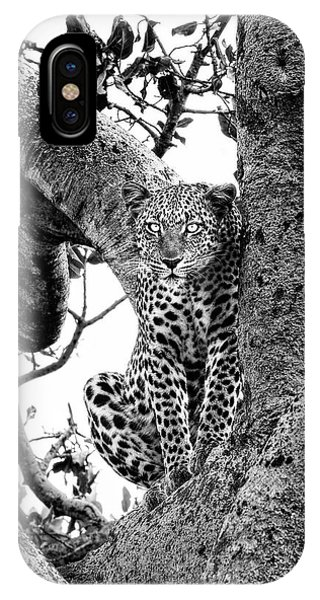 IPhone Case featuring the photograph The Leopard Sits In Wait In Black And White by Kay Brewer