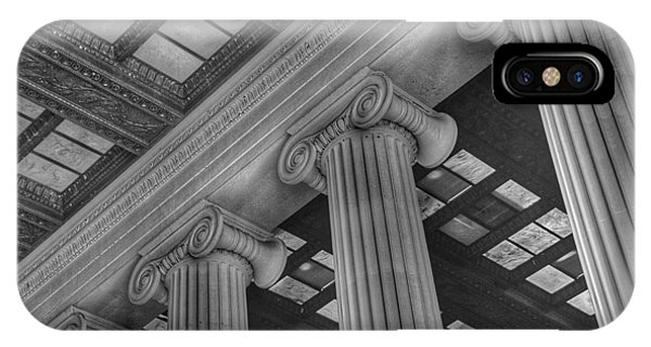 Lincoln Memorial iPhone Case - The Lincoln Memorial Washington D. C. - Black And White Abstract Pillars Details 2 by Marianna Mills