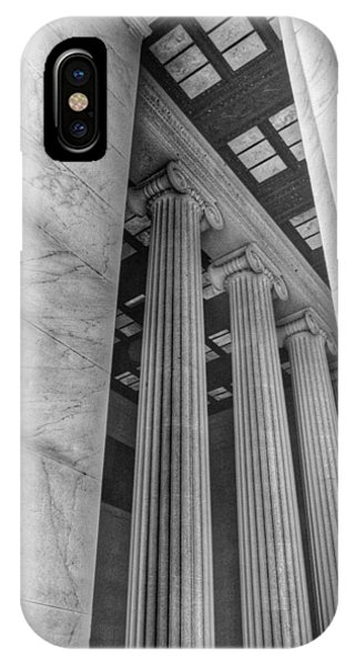 Lincoln Memorial iPhone Case - The Lincoln Memorial Washington D. C. - Black And White Abstract Pillars Details 3 by Marianna Mills