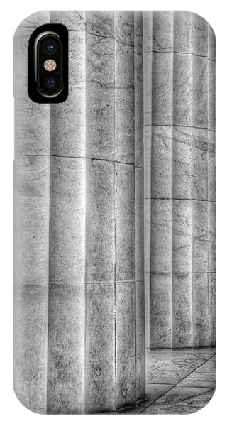 Lincoln Memorial iPhone Case - The Lincoln Memorial Washington D. C. - Black And White Abstract Pillars Details 4 by Marianna Mills