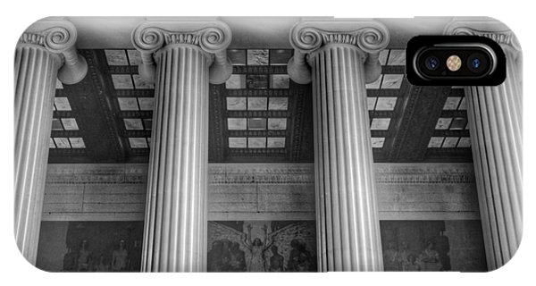 Lincoln Memorial iPhone Case - The Lincoln Memorial Washington D. C. - Black And White Abstract Pillars Details 5 by Marianna Mills