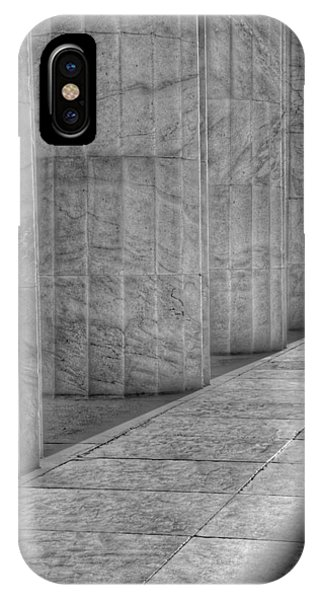 Lincoln Memorial iPhone Case - The Lincoln Memorial Washington D. C. - Black And White Abstract Pillars Details 6 by Marianna Mills