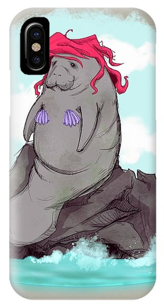 Mermaid iPhone Case - The Little Manatee  by Ludwig Van Bacon