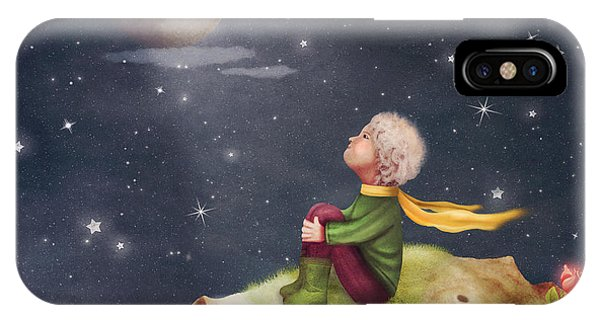 Small iPhone Case - The Little Prince With A Rose On A by Natalia maroz