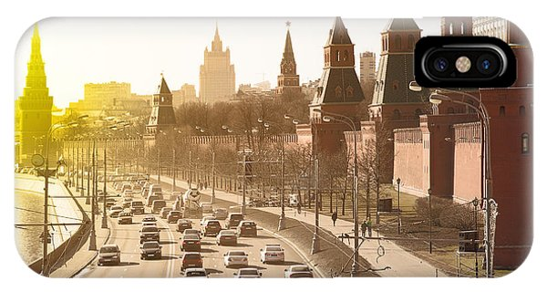 Old Building iPhone Case - The Moscow Kremlin And Road Traffic by Roman Sigaev