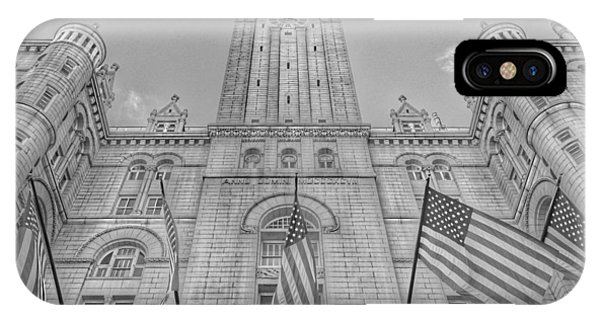 IPhone Case featuring the photograph The Old Post Office Now Trump International Hotel In Washington D.c. - Black And White by Marianna Mills