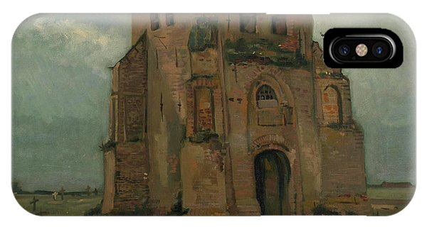 Van Gogh Museum iPhone Case - The Peasants Churchyard, The Old Church Tower by Vincent Van Gogh