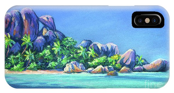 Micronesia iPhone Case - The Rocks On La Digue  Panoramic by John Clark