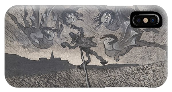 IPhone Case featuring the drawing The Scarecrow And The Four Winds by Ivar Arosenius