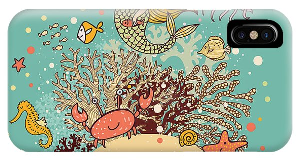 Mythology iPhone Case - The Sea âBright Cartoon Card by Smilewithjul