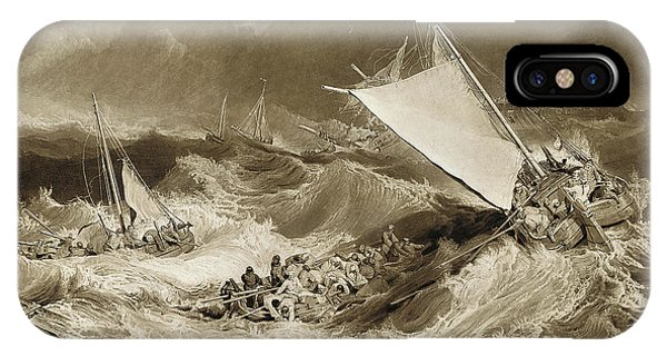Shipwreck iPhone Case - The Ship Wreck, 1807 by Charles Turner