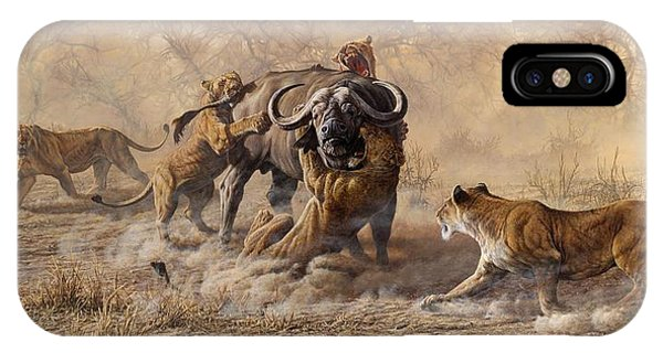 IPhone Case featuring the painting The Take Down - Lions Attacking Cape Buffalo by Alan M Hunt
