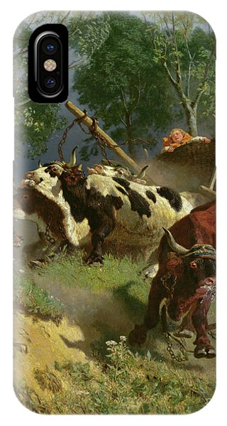 Accident iPhone Case - The Team Of Oxen Breaks Loose  by Teutwart Schmitson