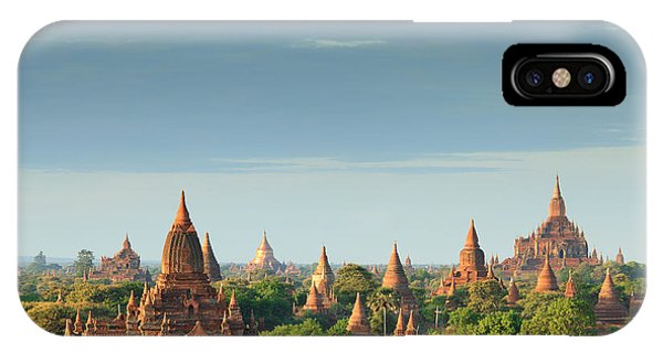 Spirituality iPhone Case - The Temples Of Bagan At Sunrise, Bagan by Lkunl