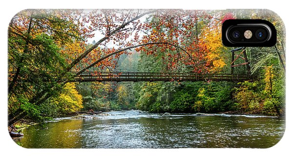 iPhone Case - The Toccoa River Hanging Bridge by Debra and Dave Vanderlaan