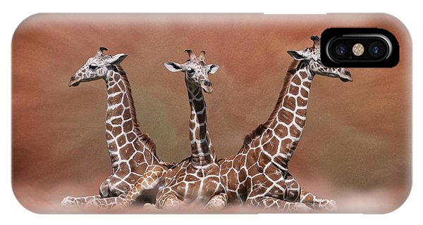 IPhone Case featuring the digital art The Watchers - Three Giraffes by Debi Dalio