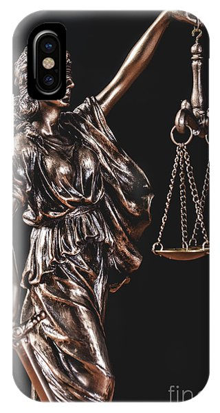 Fairness iPhone Case - Themis Statue Holding A Scale by Michal Bednarek