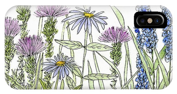 Thistle Asters Blue Flower Watercolor Wildflower IPhone Case