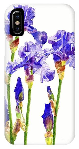 Violet iPhone Case - Three Purple Irises by Sharon Freeman