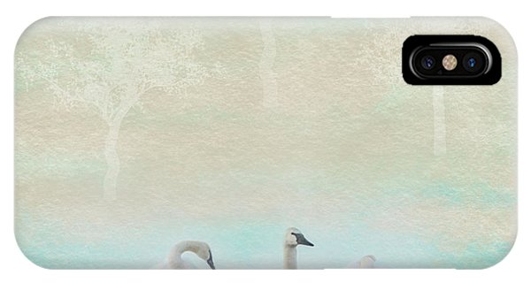 Teal Swan iPhone Case - Three Swans Pastel Square by Patti Deters