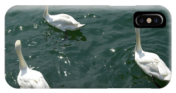 iPhone Case - Three White Swans by Zal Latzkovich