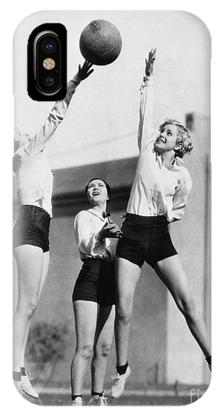 Adult iPhone Case - Three Women With Basketball In The Air by Everett Collection