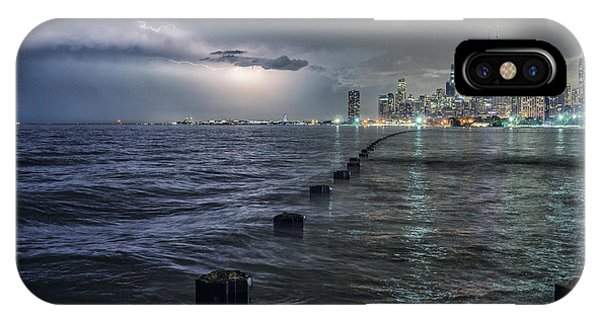 Chicago iPhone Case - Thunder And Lightning In The Dark City by Bruno Passigatti