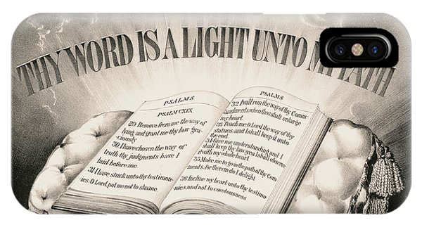 My Son iPhone Case - Thy Word Is A Light Unto My Path, 1872 by Currier And Ives