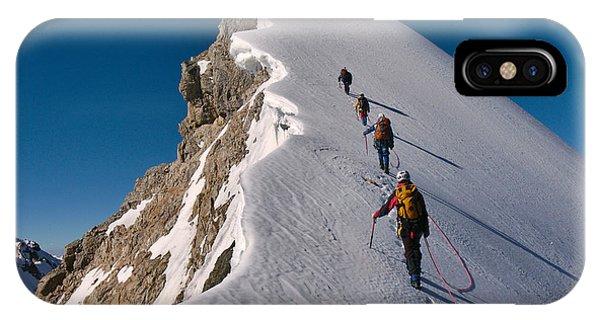 Tied Climbers Climbing Mountain With Phone Case by Taras Kushnir