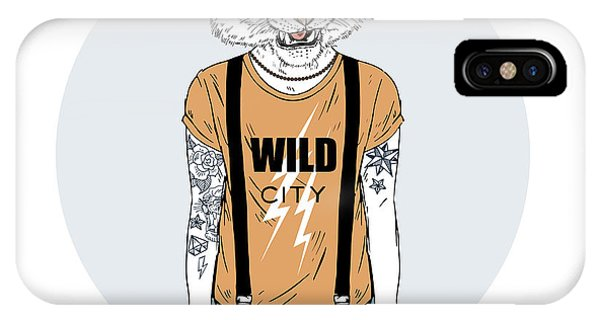 Necklace iPhone Case - Tiger Man Hipster Dressed Up In Cool by Olga angelloz