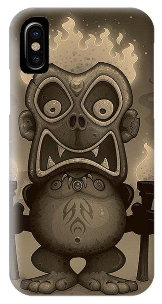 Wood Carving iPhone Case - Tiki Munkee by John Schwegel