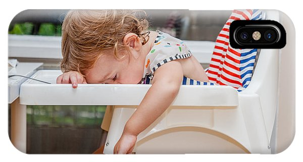 Eating iPhone Case - Tired Child Sleeping In Highchair After by Alina Reynbakh