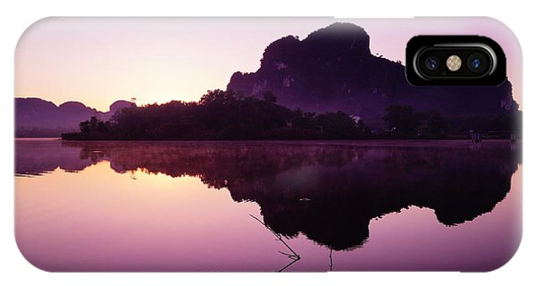 Serenity iPhone Case - Title  The Peaceful Mountain by Pk Kaew