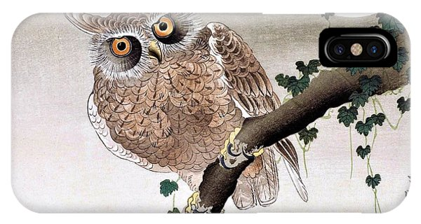 Super Moon iPhone Case - Top Quality Art - Moon And Owl by Ohara Koson
