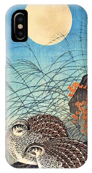 Super Moon iPhone Case - Top Quality Art - Moon And  Quail by Ohara Koson