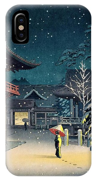 Umbrella Pine iPhone Case - Top Quality Art - Nezu Temple by Tsuchiya Koitsu