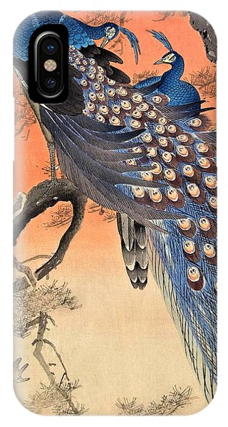 Peacocks iPhone Case - Top Quality Art - Two Peacock by Ohara Koson