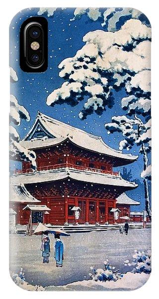 Umbrella Pine iPhone Case - Top Quality Art - Zojoji Snow by Tsuchiya Koitsu