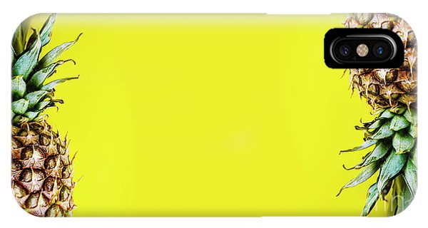 Smoothie iPhone Case - Top View Of Pineapple Border On Bright Yellow Background. Vivid  by Jelena Jovanovic