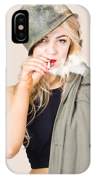 Wwi iPhone Case - Tough And Determined Female Pin-up Soldier Smoking by Jorgo Photography - Wall Art Gallery
