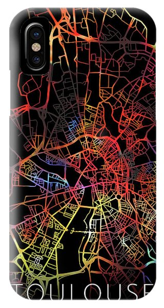 French iPhone Case - Toulouse France Watercolor City Street Map Dark Mode by Design Turnpike