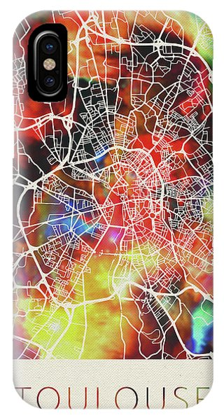 French iPhone Case - Toulouse France Watercolor City Street Map by Design Turnpike