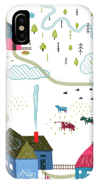 Small Dog iPhone Case - Town Or Village Rural Landscape With by Popmarleo