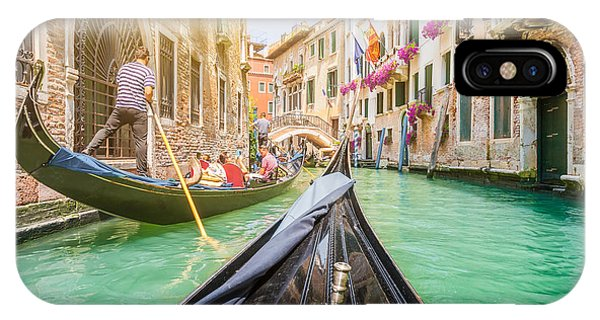 Old Building iPhone Case - Traditional Gondolas On Narrow Canal In by Canadastock