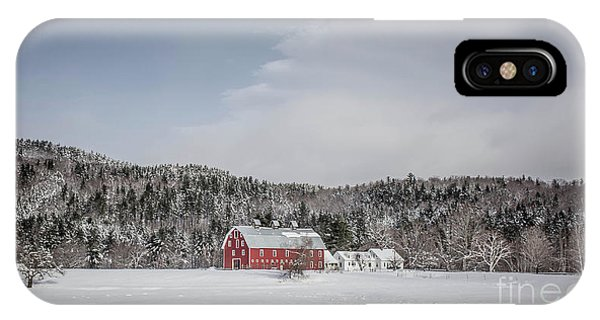 New England Barn iPhone Case - Traditional New England Farm In Winter by Edward Fielding