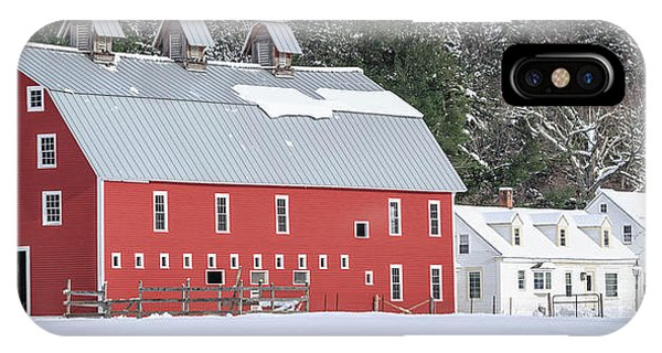 New England Barn iPhone Case - Traditional New England Red Dairy Barn Grantham New Hampshire Panoramic by Edward Fielding